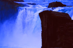 Godafoss waterfalls and promontory Stock Photo