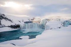 Godafosswaterval in IJsland tijdens de winter Royalty-vrije Stock Afbeeldingen