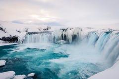 Godafosswaterval in IJsland tijdens de winter Royalty-vrije Stock Fotografie