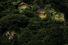 Godai大厅和创建者Risshaku ji Yamadera夜场面` s大厅  库存图片