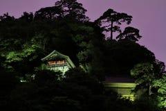Godai大厅和创建者Risshaku ji Yamadera夜场面` s大厅  免版税库存照片