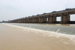 GODAVARI Dawleswaram Barrage. Dowleswaram Barrage is an irrigation structure which is built on the lower stretch of the Godavari River also called Sir Arthur royalty free stock image