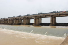 GODAVARI Dowleswaram Barrage. Dowleswaram Barrage is an irrigation structure which is built on the lower stretch of the Godavari River also called Sir Arthur stock photography