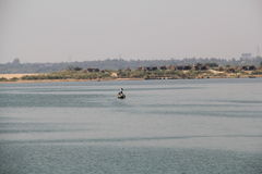 GODAVARI. Is the second longest river in India natur, one of the best tourist attraction in Andhra Pradesh, Small huts in i land and fishing boay will be stock image