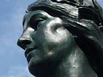 Goddess. Statue of a goddess against a clear blue sky, in Montreal, Quebec, Canada stock images
