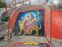 Goddess Amba painting on rock at Golconda fort, Hyderabad Royalty Free Stock Image