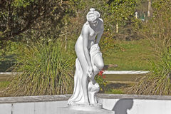 Goddess Aphrodite, Sochi. FEB 9, 2016, SOCHI, RUSSIA -  Detail of fountain, sculpture of the bathing goddess Aphrodite, in Matsesta. Matsesta is the important Royalty Free Stock Photography