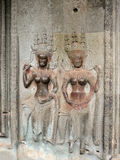 Goddess bas-relief of Angkor Stock Photography