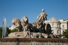 Goddess Cibeles sculpture in Madrid. Landmark of famous neoclassical sculpture monument fountain of greek goddess Cibeles pulled by lions in Madrid city Spain Stock Photos