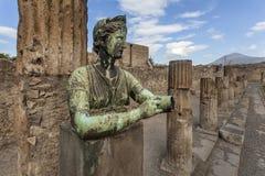 Goddess Diana in Pompeii. Bronze statue of goddess Diana in the temple of Apollo in Pompeii Stock Photography