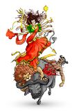 Goddess Durga. Vector illustration of goddess Durga killing Mahishasura stock illustration