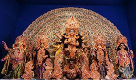 Goddess Durga: Durga Puja is the one of the most famous festival celebrated in West Bengal, Assam, Tripura and is now celebrated w royalty free stock photography