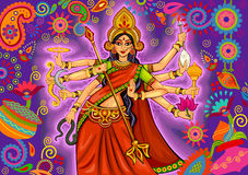 Goddess Durga in floral  Puja Dussehra background Royalty Free Stock Photo