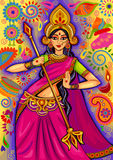 Goddess Durga in floral  Puja Dussehra background Stock Photography