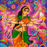 Goddess Durga in floral  Puja Dussehra background Royalty Free Stock Photos