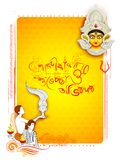 Goddess Durga in Happy Dussehra background with bengali text Sharod Shubhechha meaning Autumn greetings Stock Photos