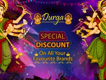 Goddess Durga for Happy Dussehra sale and promotion advertisement background Stock Images