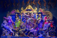 Goddess Durga Idols shot at multi colored light. royalty free stock photography