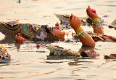 The goddess Durga immersion Stock Photo
