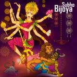 Goddess Durga killing demon Mahishasura for Happy Vijayadashami Dussehra Royalty Free Stock Photos