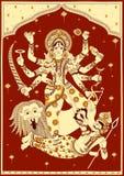 Goddess Durga killing demon Mahishasura for Happy Vijayadashami Dussehra Stock Photos
