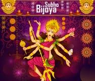 Goddess Durga killing demon Mahishasura for Happy Vijayadashami Dussehra Stock Image