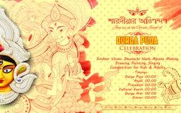 Goddess Durga in Subho Bijoya Happy Dussehra background with bengali text sharodiya abhinandan meaning Autumn greetings Stock Images