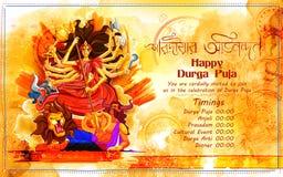 Goddess Durga in Subho Bijoya Happy Dussehra background with bengali text sharodiya abhinandan meaning Autumn greetings Stock Photography