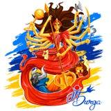 Goddess Durga in Subho Bijoya Happy Dussehra background Stock Photo