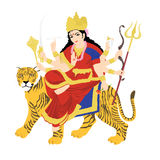 Goddess durga on tiger. Statue with white background Royalty Free Stock Photography