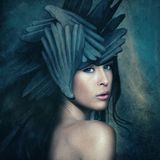 Goddess. Fantasy warrior goddess with helmet, small amount of grain added royalty free stock photography