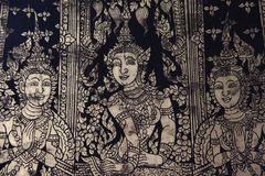 Goddess Fine Art Old Local Tradition Painting. Detail. Local tradition and history arts ancient painting on Buddhist Temple walls. Bangkok Thailand stock photos