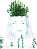 Goddess of the forest. Surreal face of a girl. Eco design silhouette of a girlish forest river hair is . Vector illustration art happy woman head forest branch vector illustration