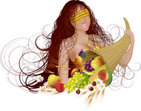 Goddess of fortune. Vector illustration of beautiful girl with long hair and cornucopia with fruit and flower: she is goddess of fortune Royalty Free Stock Photography