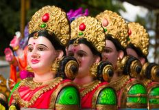 Goddess Gauri. Colorful statues, also known as Parvati, to celebrate the popular religious Hindu Festival Ganesha Chaturthi in India Royalty Free Stock Photography