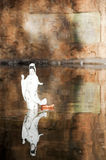 Goddess Guanyin Statue with reflection. One white china Goddess Guanyin Statue standing in a pond with perfect reflection image Royalty Free Stock Images