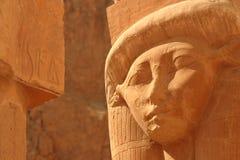 Goddess Hathor. A sandstone capital of the Goddess Hathor (the cow goddess) at the Temple of Hatshepsut, Luxor, Egypt stock photo
