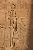 Goddess Isis. The ancient Egyptian Goddess Isis - goddess of magic and protector of Osiris. Identifiable by the throne on her headress. Carving on a wall of the royalty free stock photos