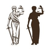 Goddess of justice. Themis with blindfold, scales and sword in hands. Vector illustration. Isolated on white background royalty free illustration