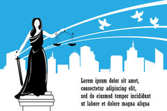 Goddess of justice Themis on the city background. Justice Day . Peace, safety and immunity concept. Stock Images