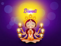 Goddess Kali with candles for Diwali Royalty Free Stock Photo
