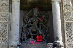 Goddess Kali. A stone sculpture of goddess Kali at baijnath temple in himachal Stock Photos