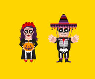 Goddess Katrina with Dead Mexican character for halloween in a flat style Stock Photos