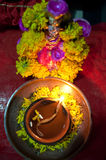 Goddess Lakshmi. An earthen lamp traditionally lit in front of an idol of goddess Lakshmi (The Goddess of Wealth), during the Diwali festival in India Royalty Free Stock Image