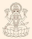 Goddess Lakshmi - brings wealth and prosperity. Royalty Free Stock Image
