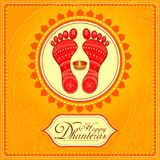 Goddess lakshmi footprint for Happy Diwali festival holiday. Vector illustration of Goddess lakshmi footprint for Happy Diwali festival holiday celebration of stock illustration