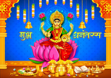 Goddess Lakshmi on Happy Diwali Dhanteras Holiday doodle background Royalty Free Stock Photos