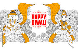 Goddess Lakshmi and Lord Ganesha on Happy Diwali Holiday doodle background for light festival of India Royalty Free Stock Images
