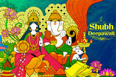 Goddess Lakshmi and Lord Ganesha on happy Diwali Holiday doodle background for light festival of India Stock Photography