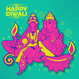 Goddess Lakshmi and Lord Ganesha on happy Diwali Holiday doodle background for light festival of India Royalty Free Stock Photo